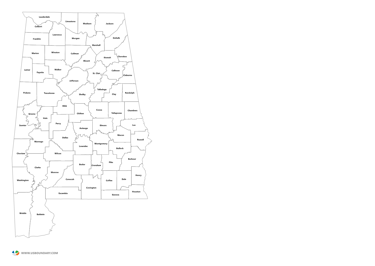 Alabama State Map By County.State Counties Maps Download