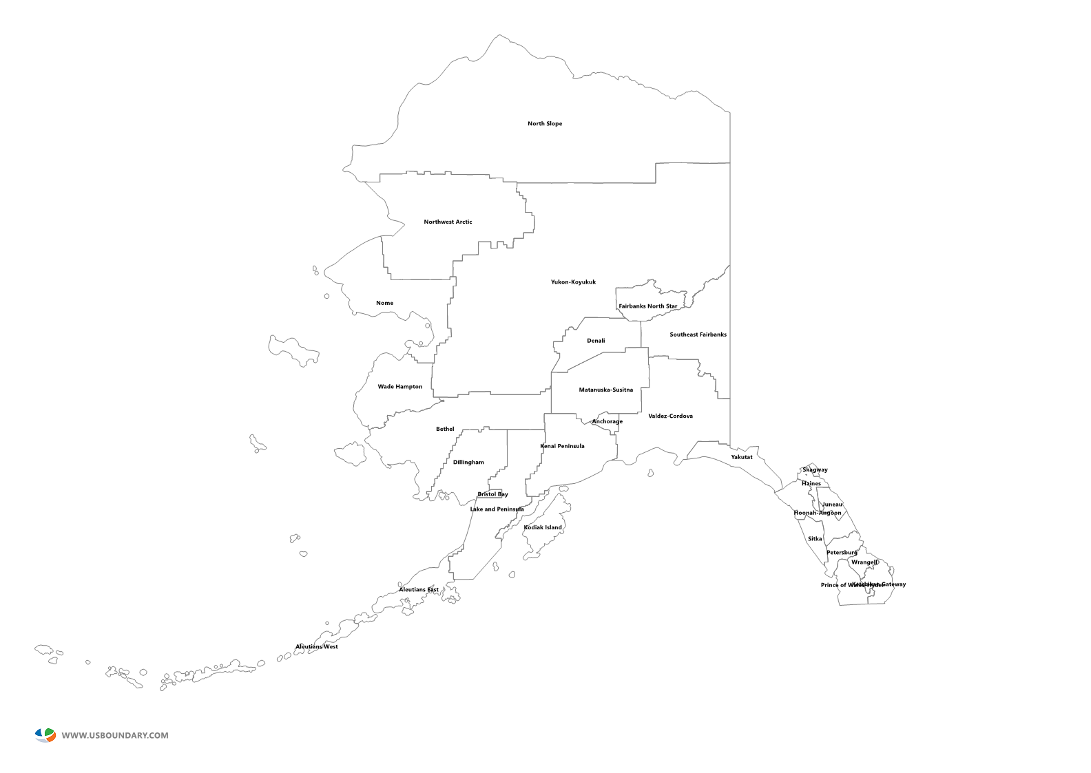 State Counties Maps Download - Alaska county map