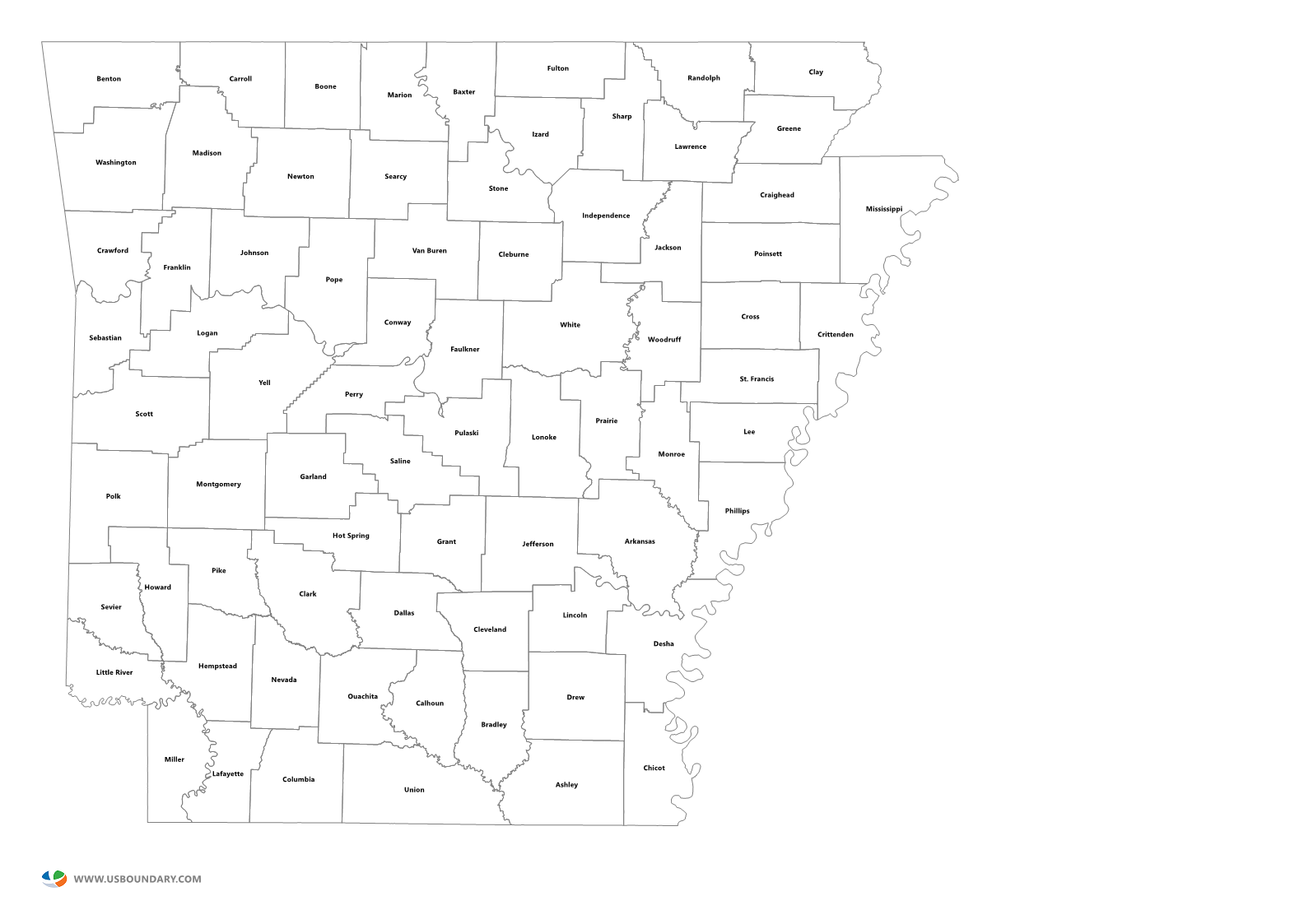 State Counties Maps Download - Arkansas county map