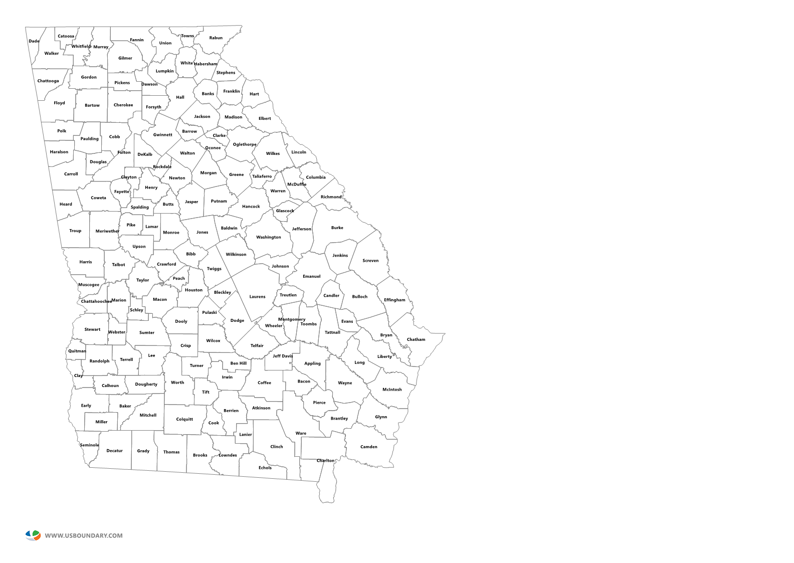 State Counties Maps Download - Counties of georgia map