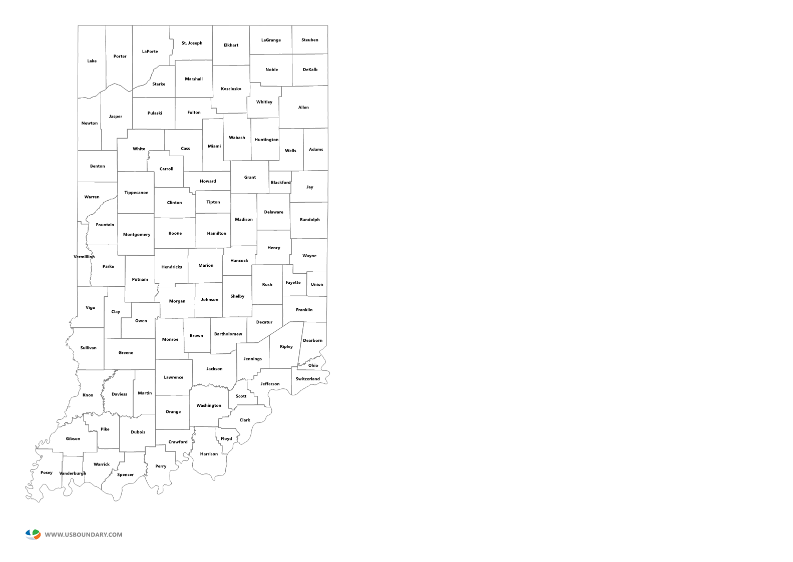 State Counties Maps Download - Map of state of indiana
