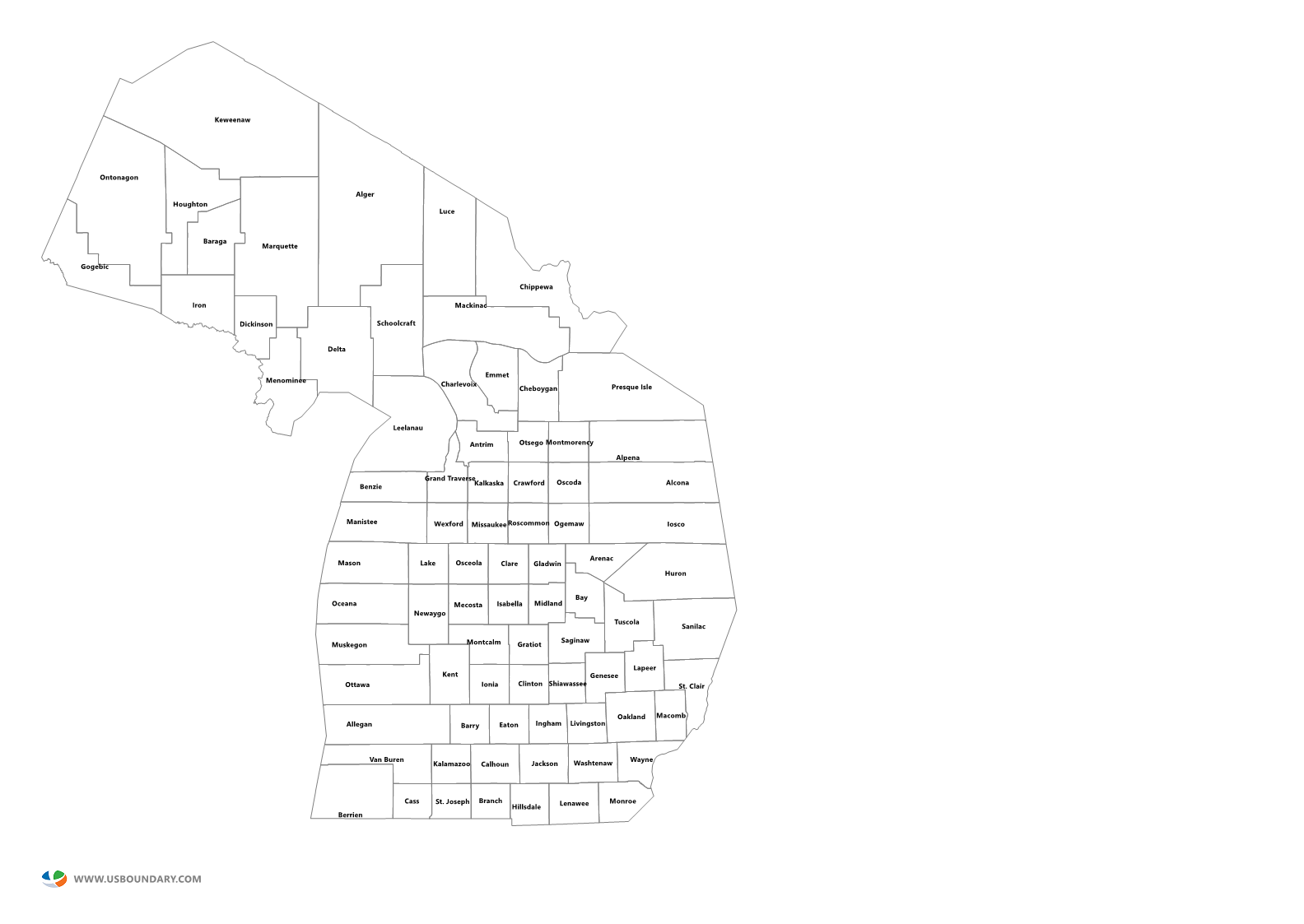 State Counties Maps Download - Michigan map of counties