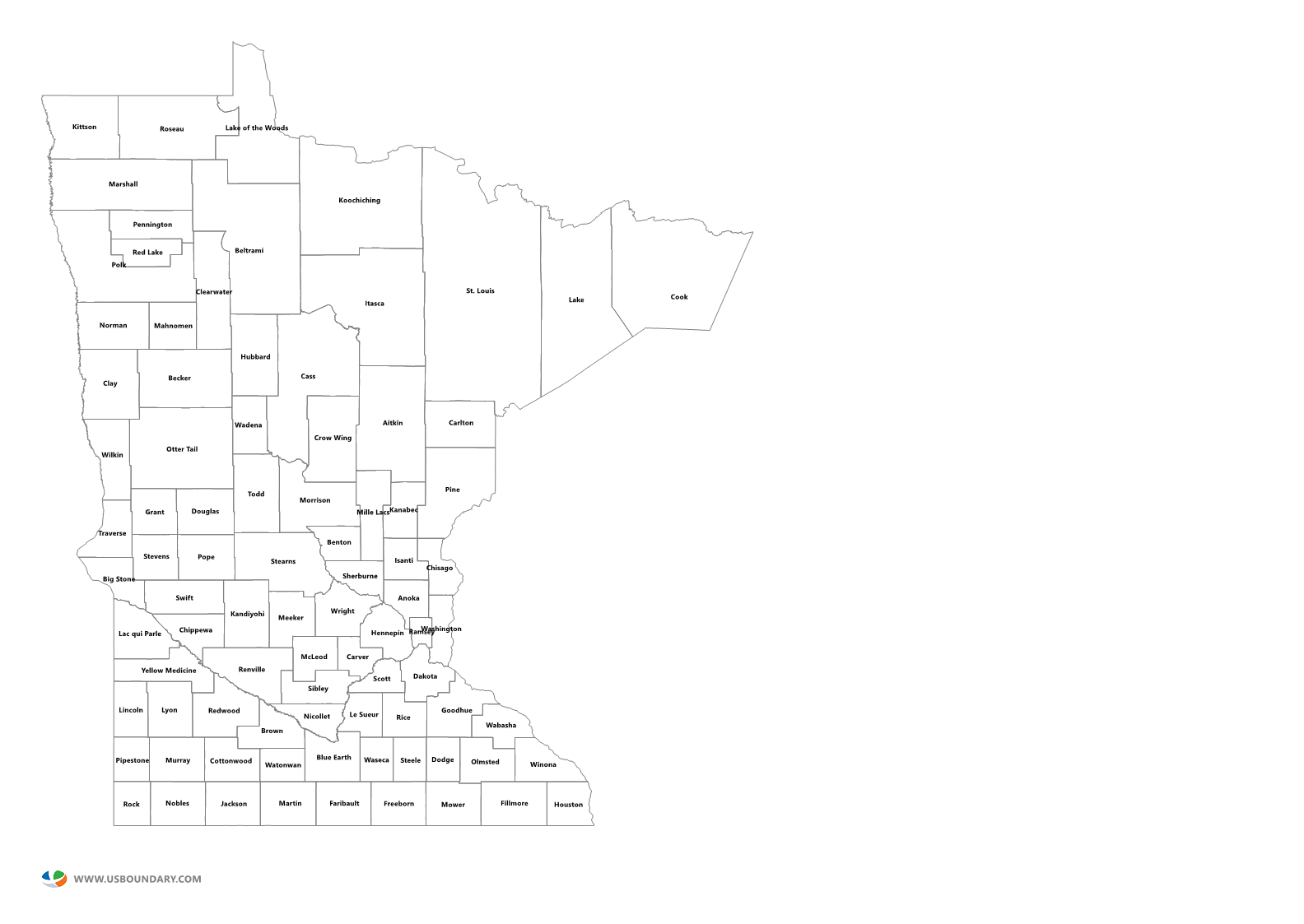 County Minnesota Map.State Counties Maps Download