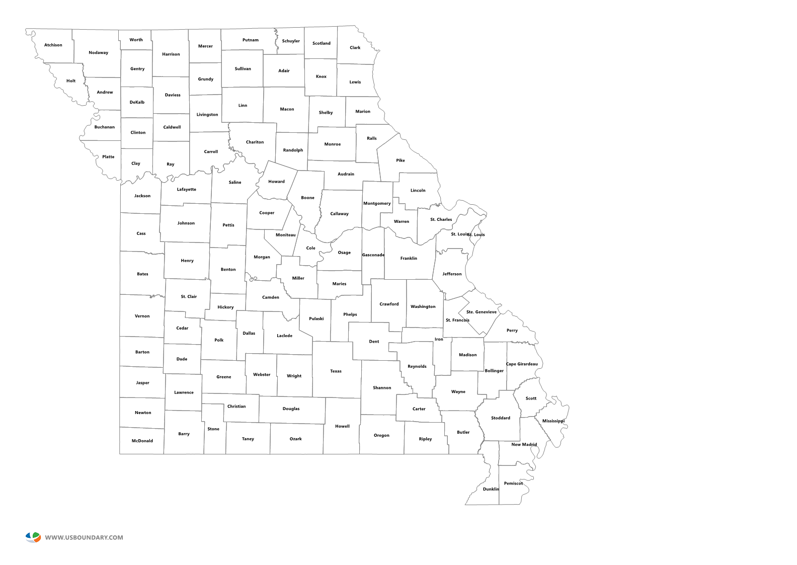 State Counties Maps Download - Missouri county map
