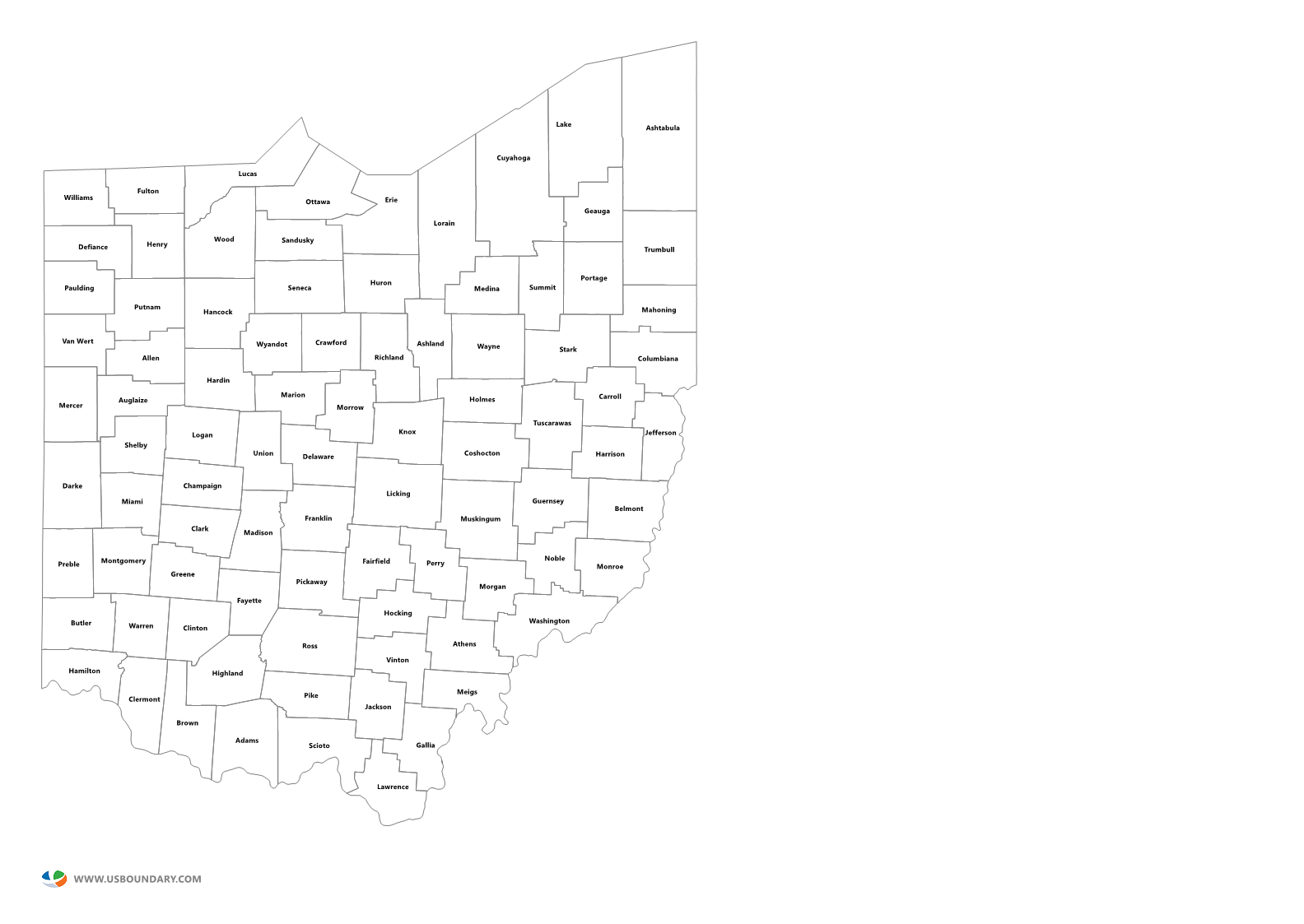 State Counties Maps Download - County maps of ohio