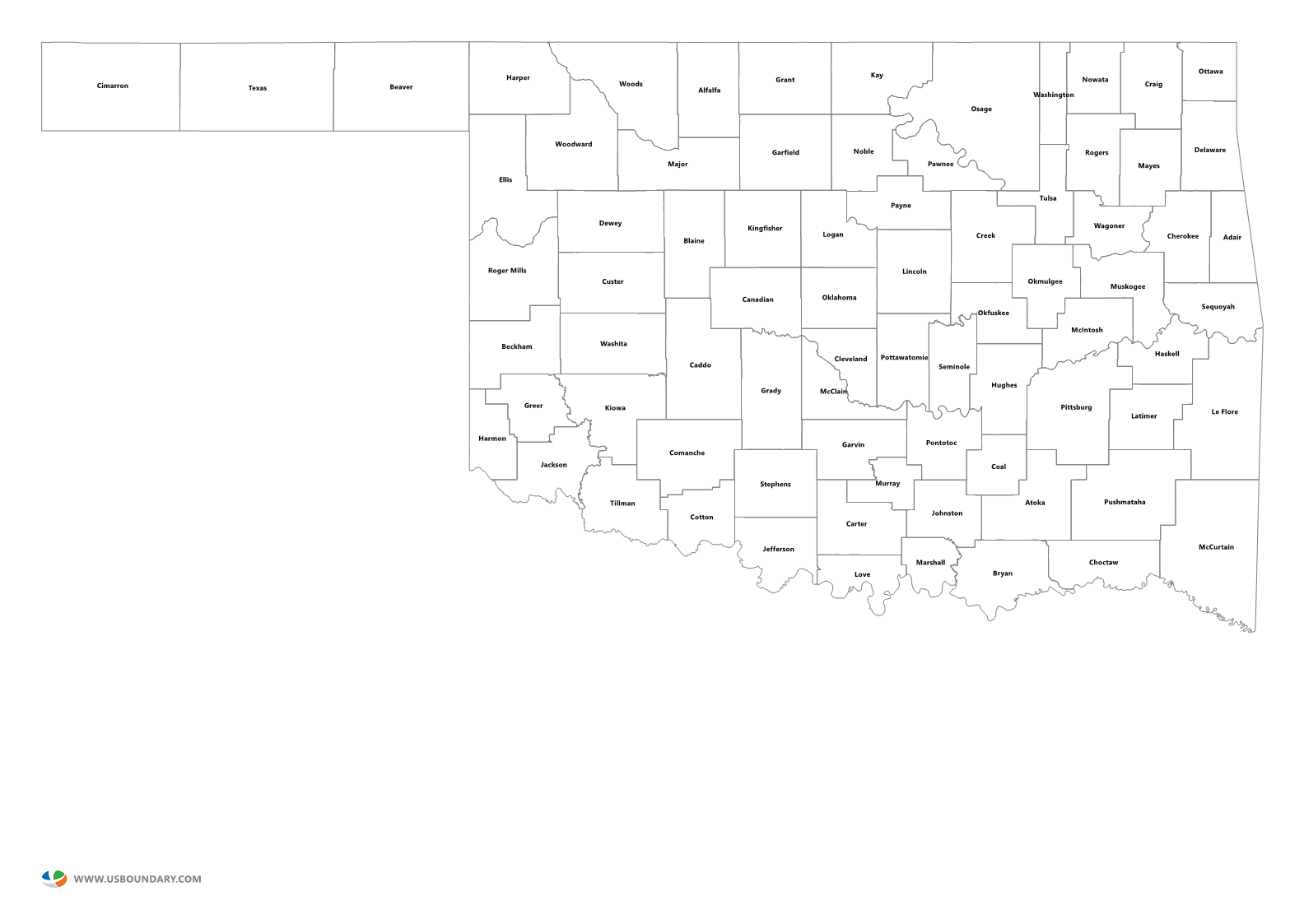 State Counties Maps Download - Oklahoma county map
