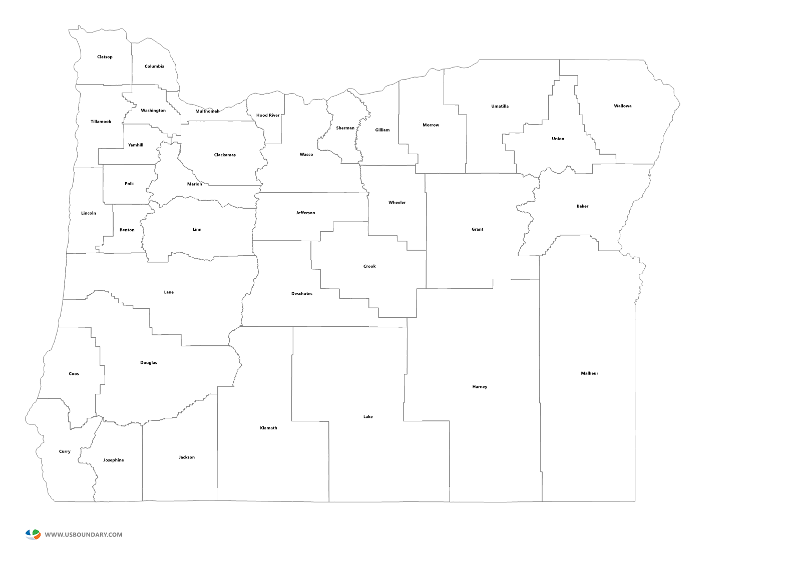 State Counties Maps Download - Oregon county maps
