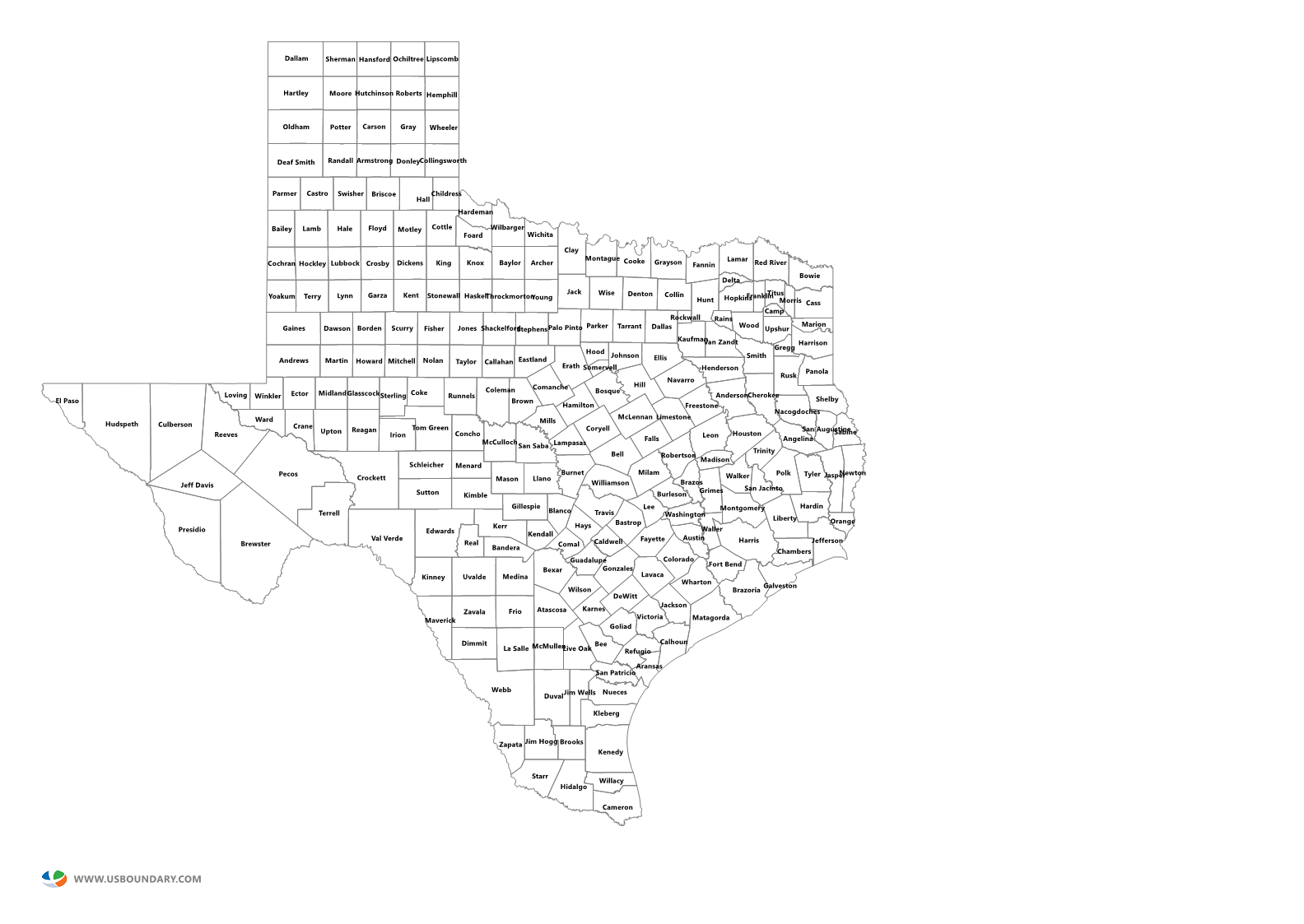 texas counties outline map
